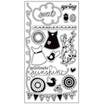 American Crafts - Dear Lizzy Spring Collection - Clear Acrylic Stamp Set - Warble, CLEARANCE