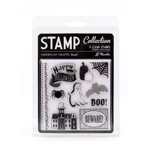 American Crafts - Boo Collection - Halloween - Clear Acrylic Stamp Set - Lil Monster, CLEARANCE