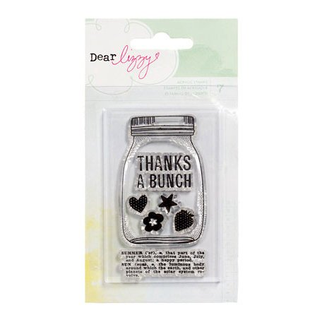 American Crafts - Dear Lizzy Neapolitan Collection - Clear Acrylic Stamps - Jar