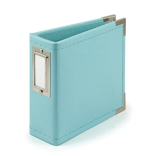 We R Memory Keepers - Classic Leather - 4 x 4 - D-Ring Album - Aqua