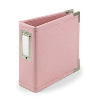 We R Memory Keepers - Classic Leather - 4 x 4 - D-Ring Album - Pretty Pink