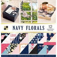 Die Cuts with a View - Navy Floral Collection - Foil Paper Stack - 12 x 12
