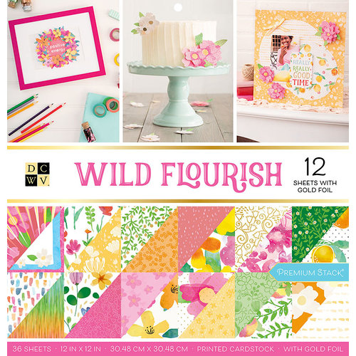 Die Cuts with a View - Wild Flourish Collection - Foil Paper Stack - 12 x 12