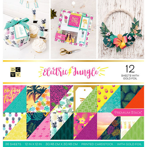 Die Cuts with a View - Electric Jungle Collection - Foil Paper Stack - 12 x 12