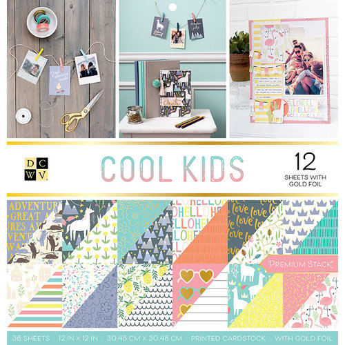 Die Cuts with a View - Cool Kids Collection - Foil Paper Stack - 12 x 12