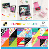 Die Cuts with a View - Rainbow Splash Collection - Foil Paper Stack - 12 x 12