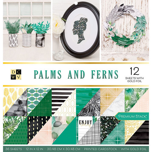 Die Cuts with a View - Palms and Ferns Collection - Foil Paper Stack - 12 x 12