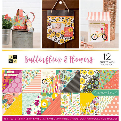 Die Cuts with a View - Butterflies and Flowers Collection - Foil Paper Stack - 12 x 12