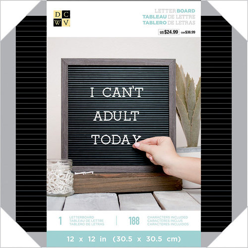 Die Cuts with a View - Letter Board - 12 x 12 - Silver and Black