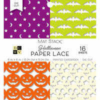 Die Cuts with a View - Halloween Paper Lace Collection - Halloween - Die Cut Paper Mat Stack - 6 x 6 - Black and White