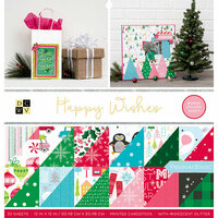 Die Cuts with a View - Happy Wishes Collection - Christmas - Foil Paper Stack - 12 x 12