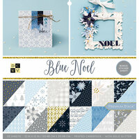 Die Cuts with a View - Blue Noel Collection - Glitter Paper Stack - 12 x 12
