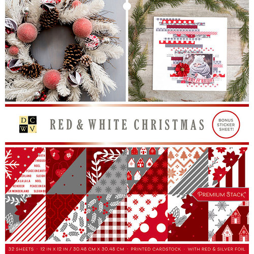 Die Cuts with a View - Red and White Christmas Collection - Foil Paper Stack - 12 x 12