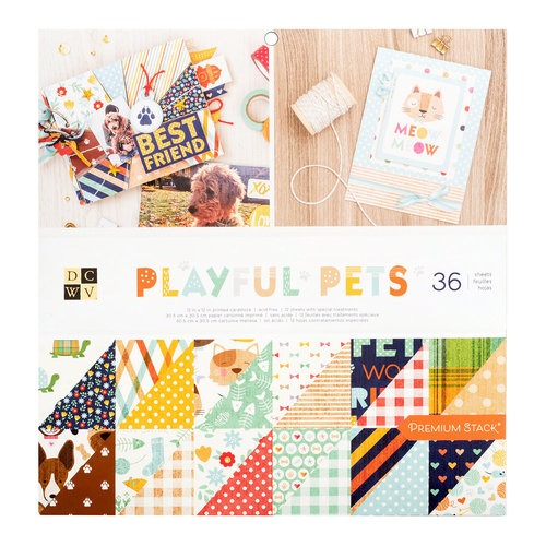 Die Cuts with a View - Playful Pets Collection - Glitter Paper Stack - 12 x 12