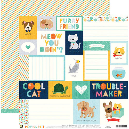 Die Cuts with a View - Playful Pets Collection - 12 x 12 Double Sided Paper - Cats And Dogs