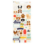 Die Cuts with a View - Playful Pets Collection - Cardstock Stickers with Glitter Accents - Dogs