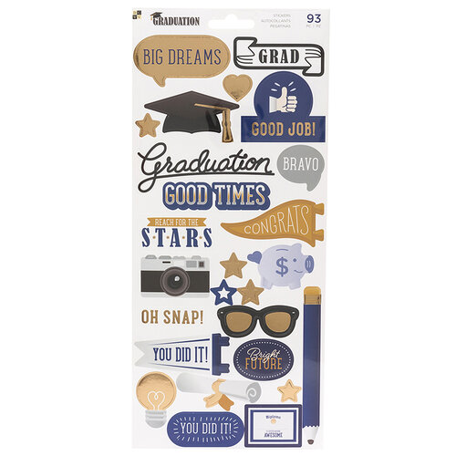Die Cuts with a View - Graduation Collection - Cardstock Stickers with Foil Accents