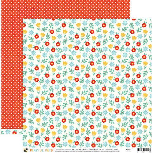 Die Cuts with a View - Playful Pets Collection - 12 x 12 Double Sided Paper - Floral