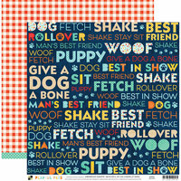 Die Cuts with a View - Playful Pets Collection - 12 x 12 Double Sided Paper - Dog Words
