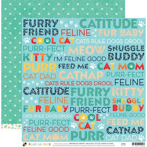 Die Cuts with a View - Playful Pets Collection - 12 x 12 Double Sided Paper - Cat Words