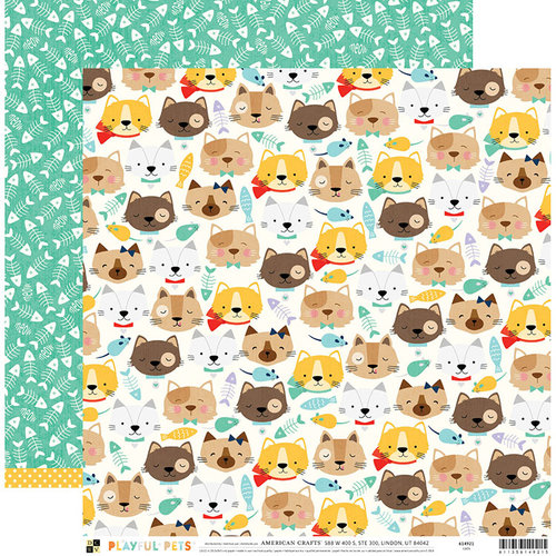 Die Cuts with a View - Playful Pets Collection - 12 x 12 Double Sided Paper - Cats