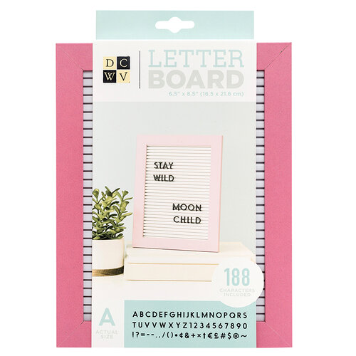 Die Cuts with a View - Letter Board - Standup - White with Pink Frame - 6.5 x 8.5