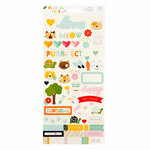 Die Cuts with a View - Playful Pets Collection - Cardstock Stickers with Glitter Accents - Cats