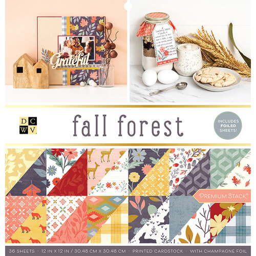 Die Cuts with a View - Fall Forest Collection - Foil Paper Stack - 12 x 12
