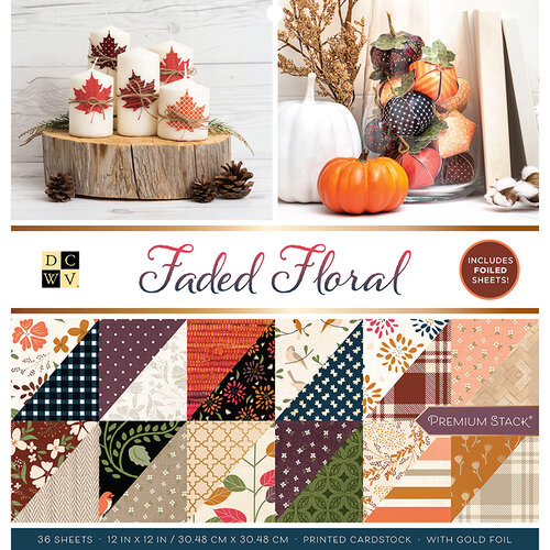 Die Cuts with a View - Faded Floral Collection - Foil Paper Stack - 12 x 12