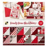 Die Cuts with a View - Christmas - Candy Cane Christmas Collection - Silver and Red Foil Paper Stack - 12 x 12