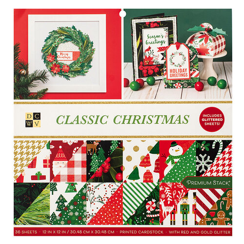 Die Cuts with a View - Christmas - Classic Christmas Collection - Red and Gold Glitter Paper Stack - 12 x 12