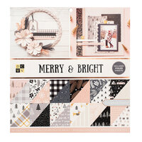Die Cuts with a View - Christmas - Merry and Bright Collection - Rose Gold and Gold Foil Paper Stack - 12 x 12