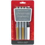 American Crafts - Metallic Marker Set - Medium Point - Christmas - 5 Pack
