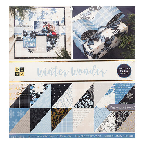 Die Cuts with a View - Christmas - Winter Wonder Collection - Gold Foil Paper Stack - 12 x 12