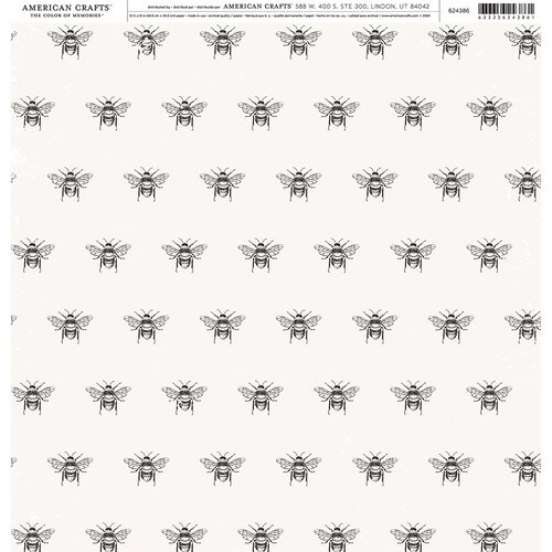 American Crafts - 12 x 12 Single Sided Paper - Bee