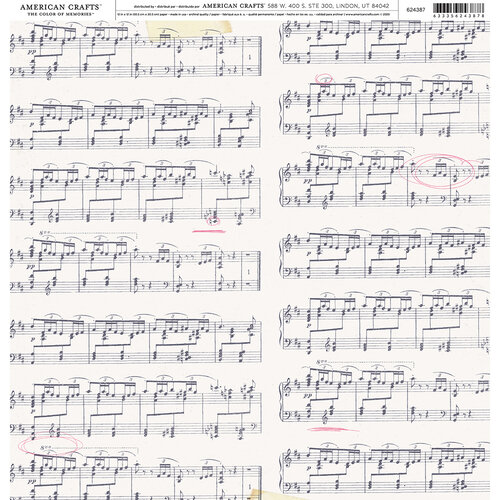 American Crafts - 12 x 12 Single Sided Paper - Music Note