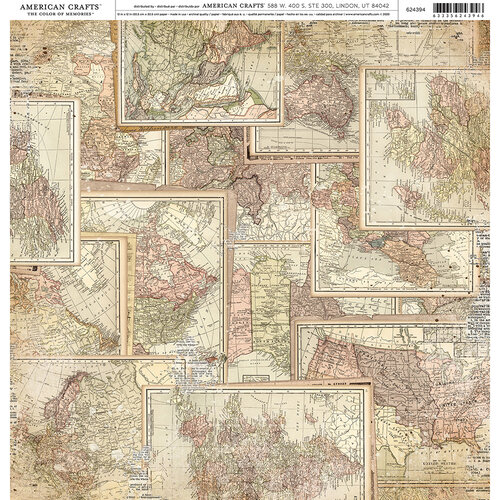 American Crafts - 12 x 12 Single Sided Paper - Vintage Maps