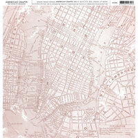 American Crafts - 12 x 12 Single Sided Paper - Pink Map