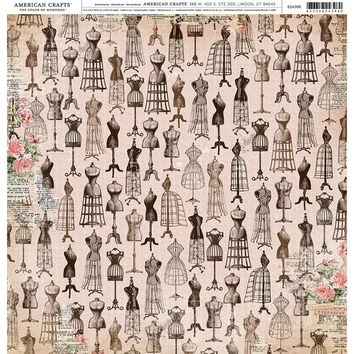 American Crafts - 12 x 12 Single Sided Paper - Vintage Dress Form