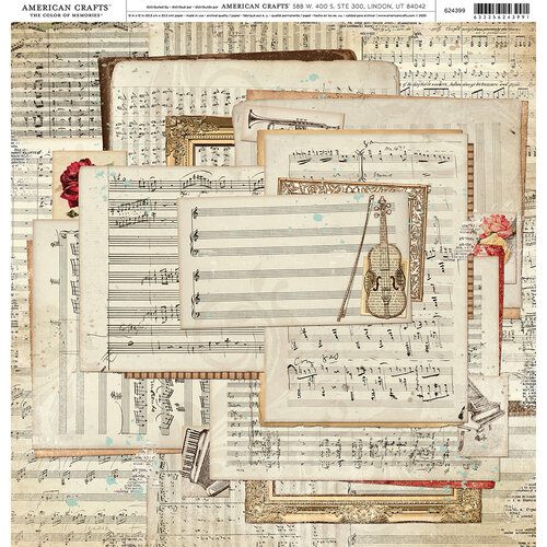 American Crafts - 12 x 12 Single Sided Paper - Music Sheets