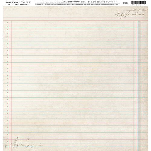 American Crafts - 12 x 12 Single Sided Paper - Vintage Line Paper