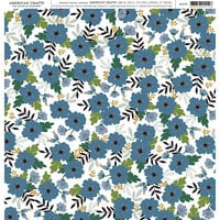 American Crafts - 12 x 12 Single Sided Paper - Blue Floral