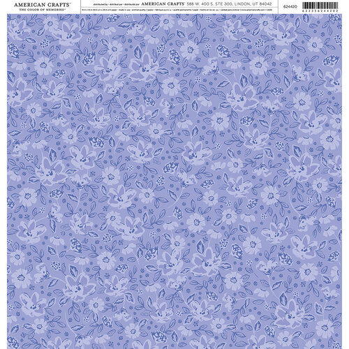 American Crafts - 12 x 12 Single Sided Paper - Purple Floral