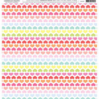 American Crafts - 12 x 12 Single Sided Paper - Rainbow Heart Lines
