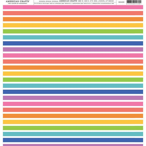 American Crafts - 12 x 12 Single Sided Paper - Rainbow Vertical Stripes