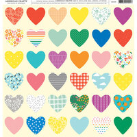American Crafts - 12 x 12 Single Sided Paper - Heart Patterns