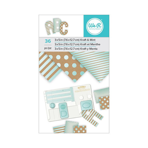We R Memory Keepers - 3 x 5 Paper Pad - Kraft With Mint Foil