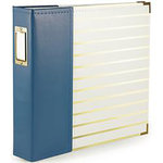 We R Memory Keepers - Album - 12 x 12 D-Ring - Navy With Gold Foil Stripes