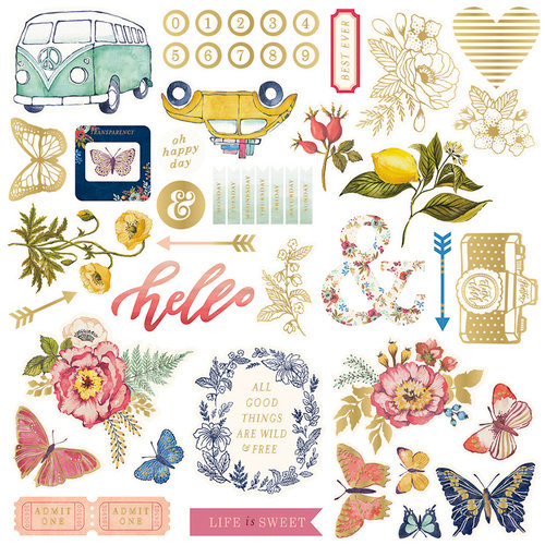 We R Memory Keepers - Wildflower Collection - Ephemera with Foil Accents