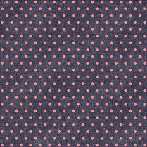 We R Memory Keepers - Denim Blues Collection - 12 x 12 Double Sided Paper - Pink Dot